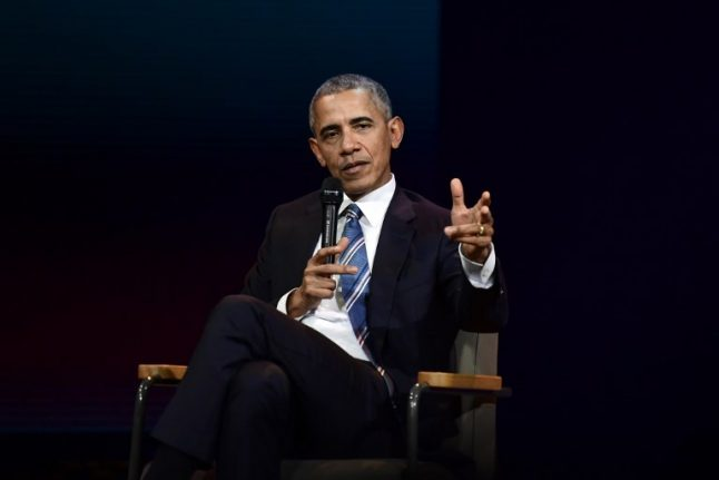 Obama takes on Trump and men in general at Paris event
