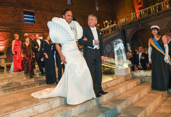 A dress with a message steals the show at the 2017 Nobel Banquet