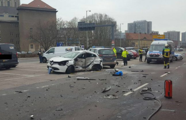 Woman dies after crash with police car in central Berlin