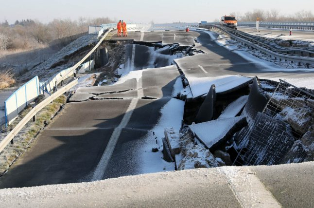Fears for tourism as huge hole in north German autobahn doubles in size