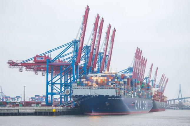World's second largest container ship docks in Hamburg