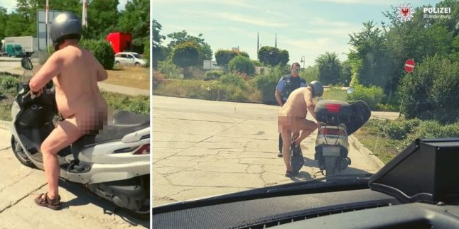 Photo of the Day: The naked moped rider stopped by German police