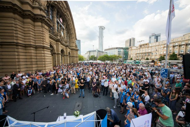 'Don't allow hatred to spread': Hundreds gather in Frankfurt to mourn child as tensions rise