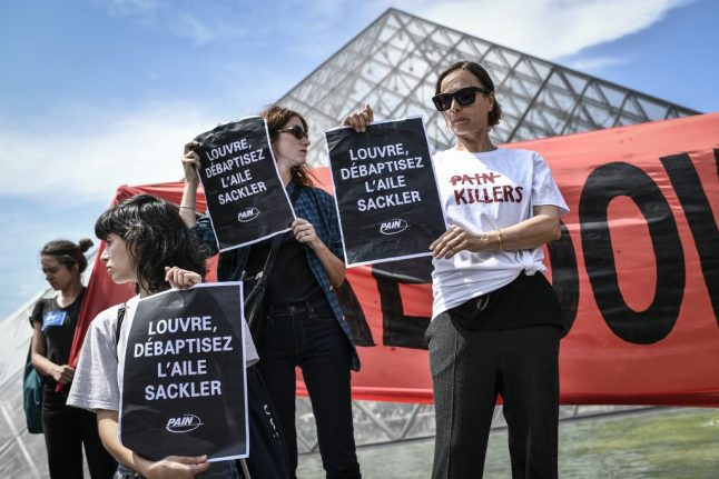 French and American protesters urge Louvre to cut ties with donor over opioid crisis