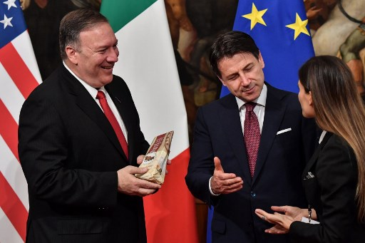 'Don't kill Italian food': Protesters urge Pompeo to stop US tariffs on cheese, wine and parma ham