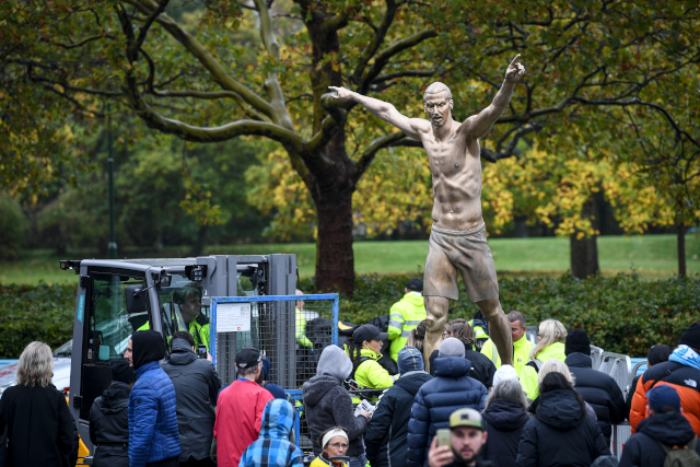 In Pictures: This is what Zlatan Ibrahimovic looks like when he unveils a statue of himself