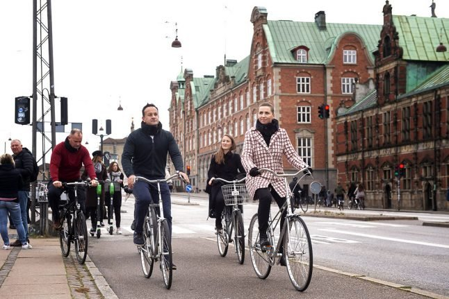 In pictures: Danish and Irish prime ministers go for bicycle ride in Copenhagen