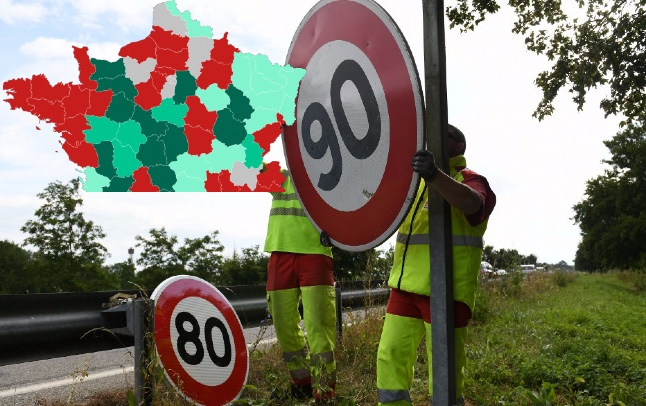 80km/h or 90km/h? Map shows the speed limits in different parts of France