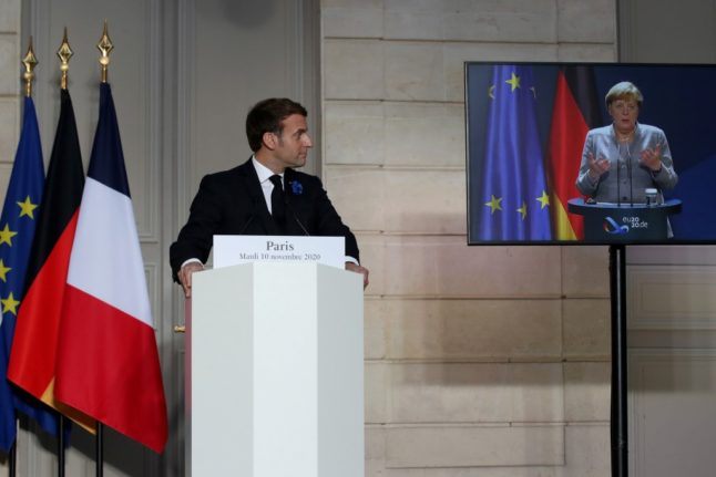 Macron and Merkel in talks over European defence and US relations
