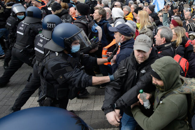 'We don't tolerate such attacks': German police use batons and pepper spray at Covid protest in Kassel