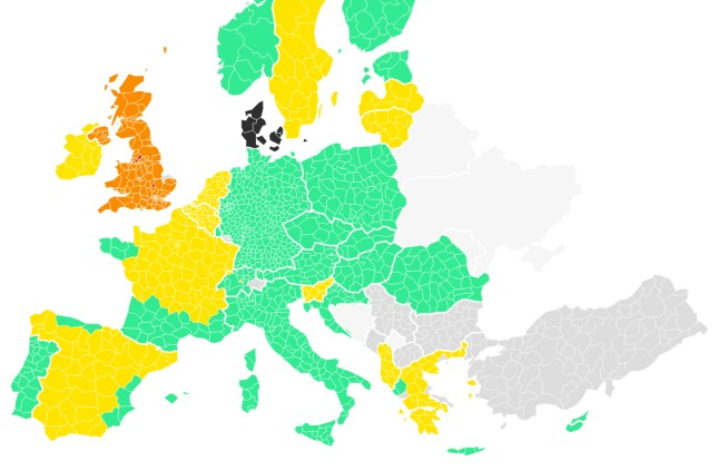 MAP: How Denmark's travel guidance for EU and Schengen countries changes on June 26th