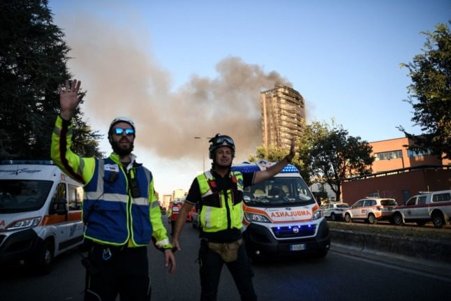 Milan tower block goes up in flames
