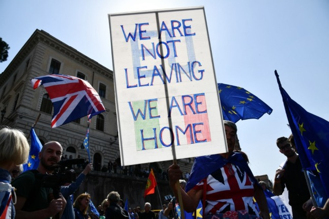 UK nationals living in Italy demonstrate against Brexit in 2017.