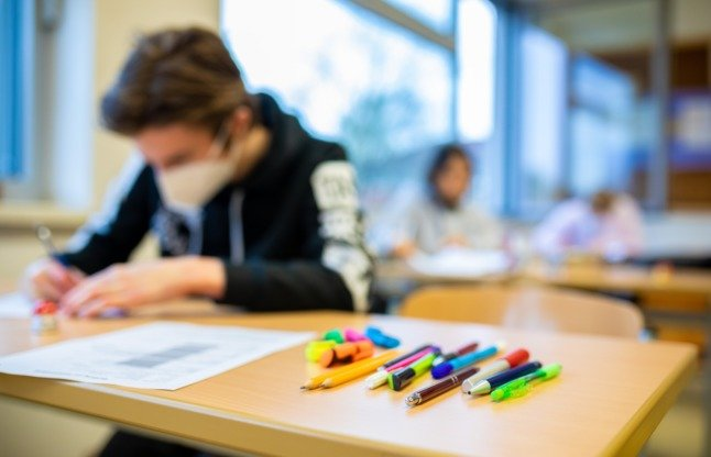 A pupils sits a desk at a school in Wedemark, Lower Saxony, earlier this year.